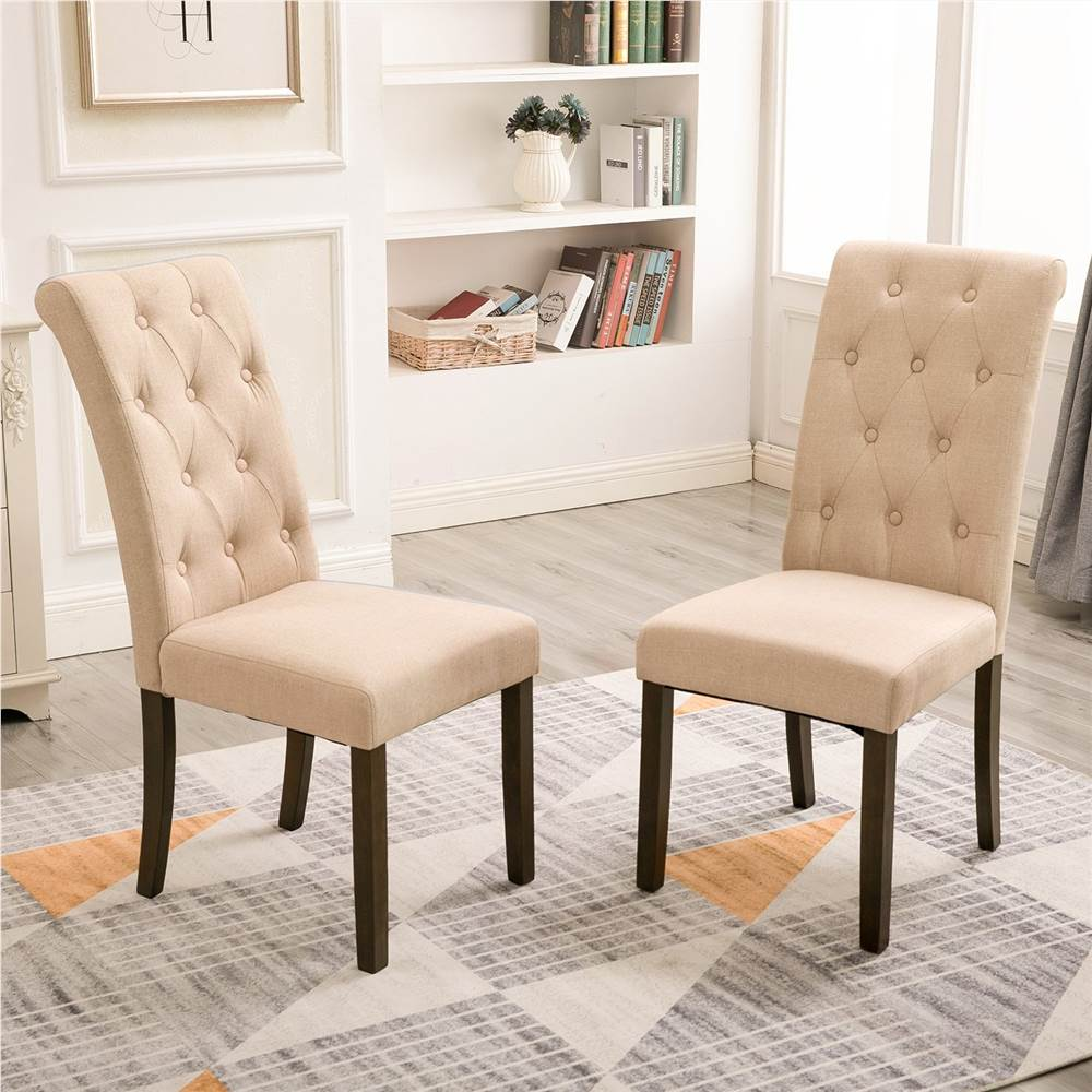 Orisfur Style aristocratique chaise de salle à manger capitonnée en bois massif lot de 2, pour cuisine, salon, café, salle de réception - Beige