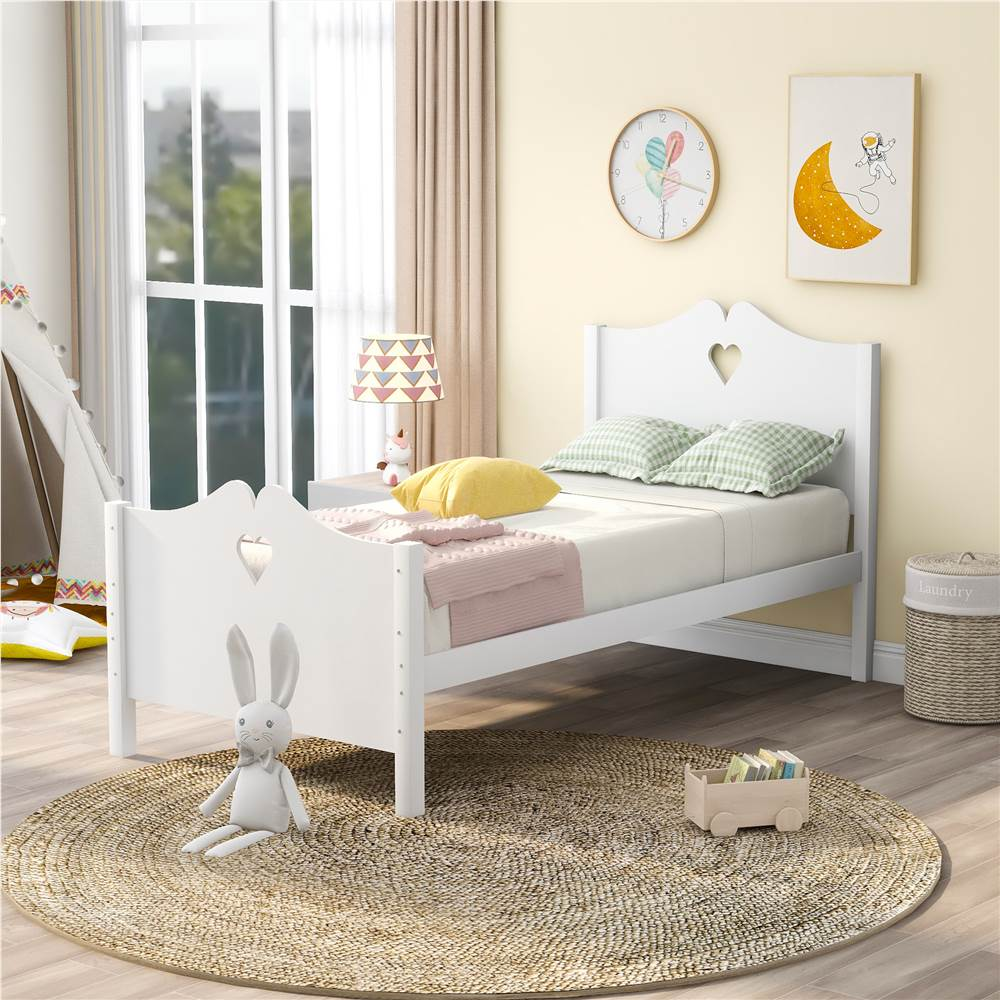 Twin-Size Wooden Platform Bed Frame with Headboard, Footboard, and Wooden Slat Support, No Need for Box Spring - White