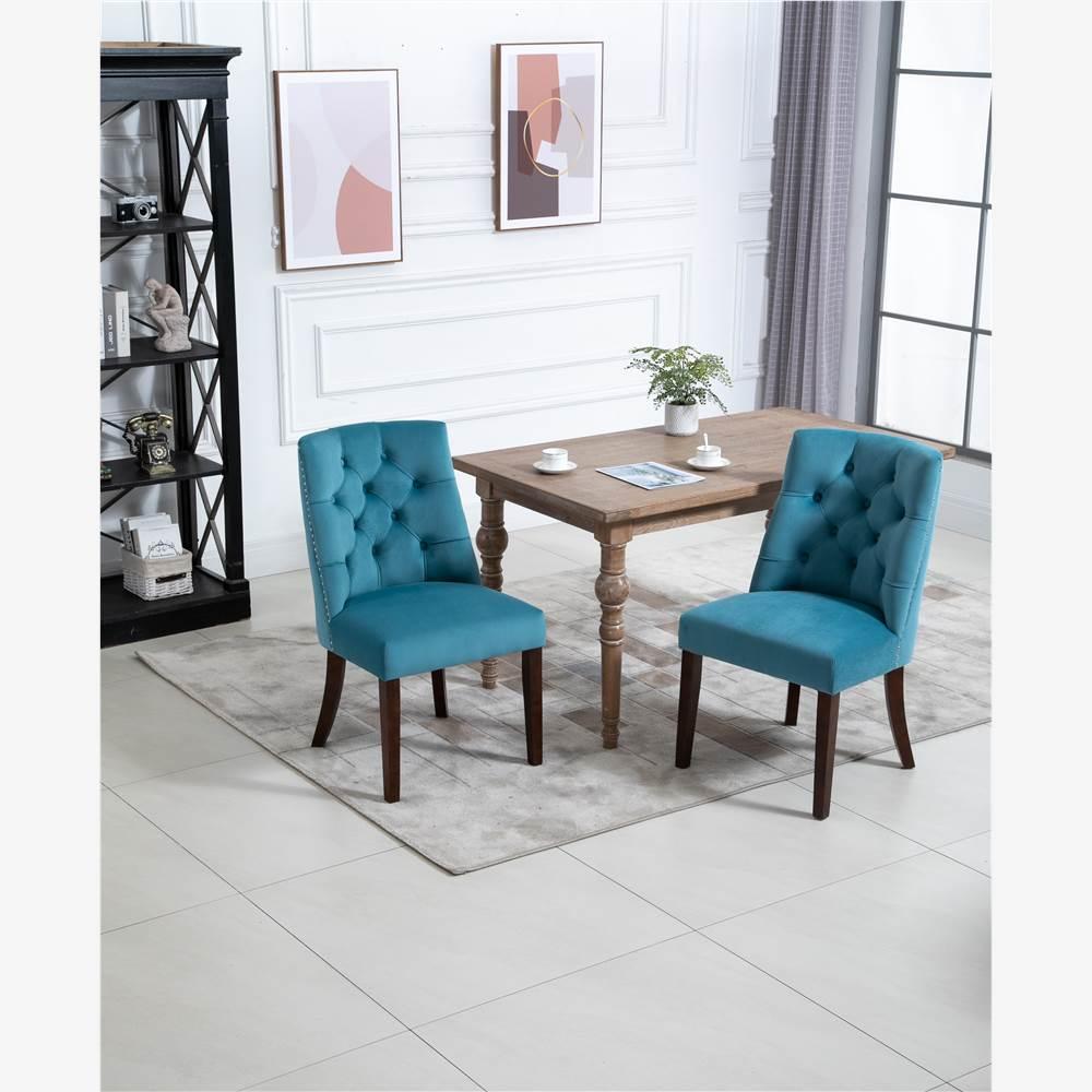 Ensemble de 2 chaises de salle à manger rembourrées en velours, avec garniture en tête de clou et pieds en bois, pour cuisine, salon, café, salle de réception - Bleu