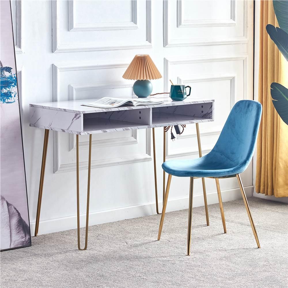 D&N Table de beauté simple de style moderne avec plateau en MDF en marbre et pieds en métal, pour chambre à coucher, salon, salle à manger, cuisine - Blanc