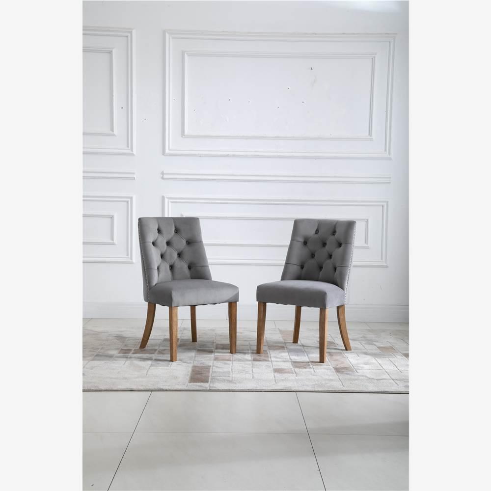 Ensemble de 2 chaises de salle à manger rembourrées en velours, avec garniture en tête de clou et pieds en bois, pour cuisine, salon, café, salle de réception - Gris