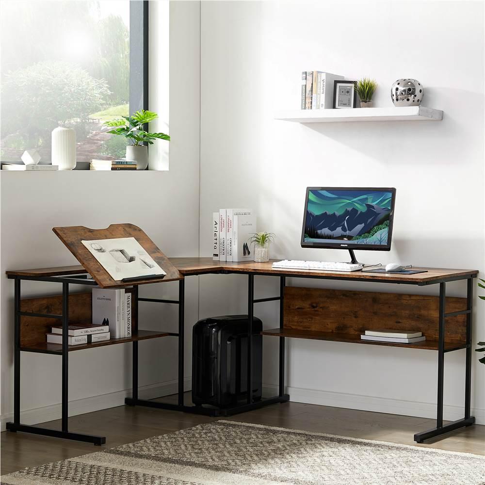 Bureau à domicile Bureau d'ordinateur en forme de L de 67 po avec dessus de table inclinable et étagère inférieure - Tigre