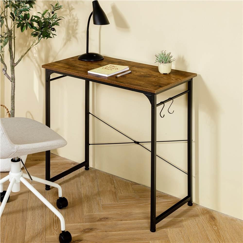 Bureau à domicile Bureau d'ordinateur 32 '' MDF et cadre en métal, avec 2 crochets, adapté aux petits espaces - Marron
