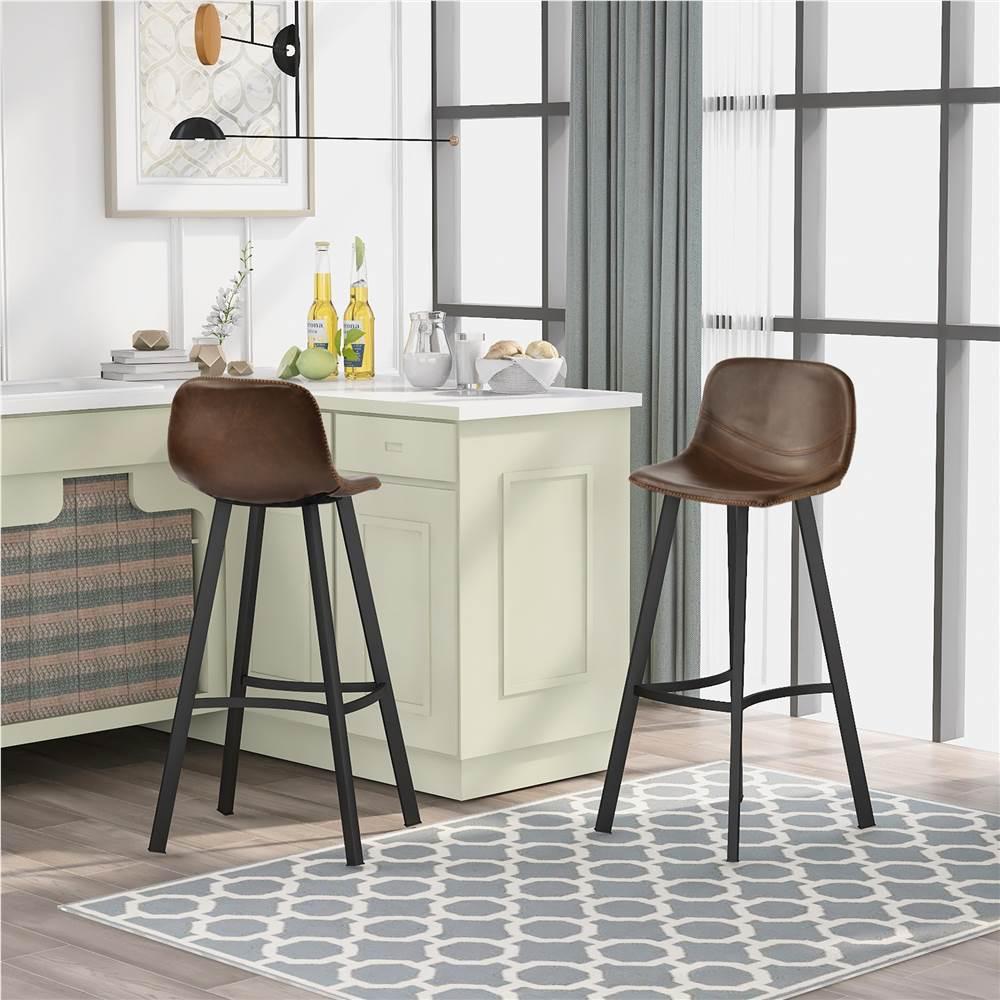 TREXM dossier bas repose-pieds en cuir vintage hauteur chaise de salle à manger ensemble de 2, pour cuisine, restaurant, bar, appartement, café - marron