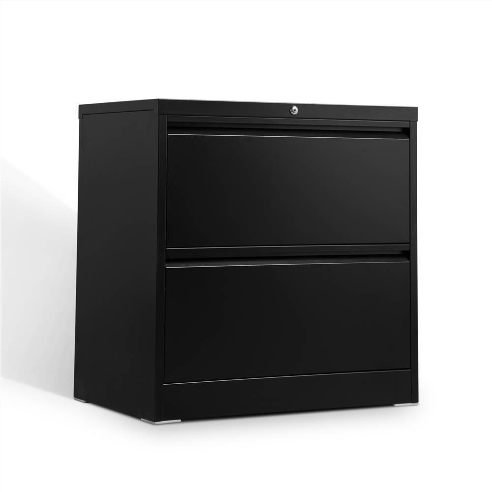 Classeur latéral verrouillable en métal pour bureau à domicile avec 2 tiroirs de rangement, pour documents suspendus au format A4, Lettre et Légal - Noir