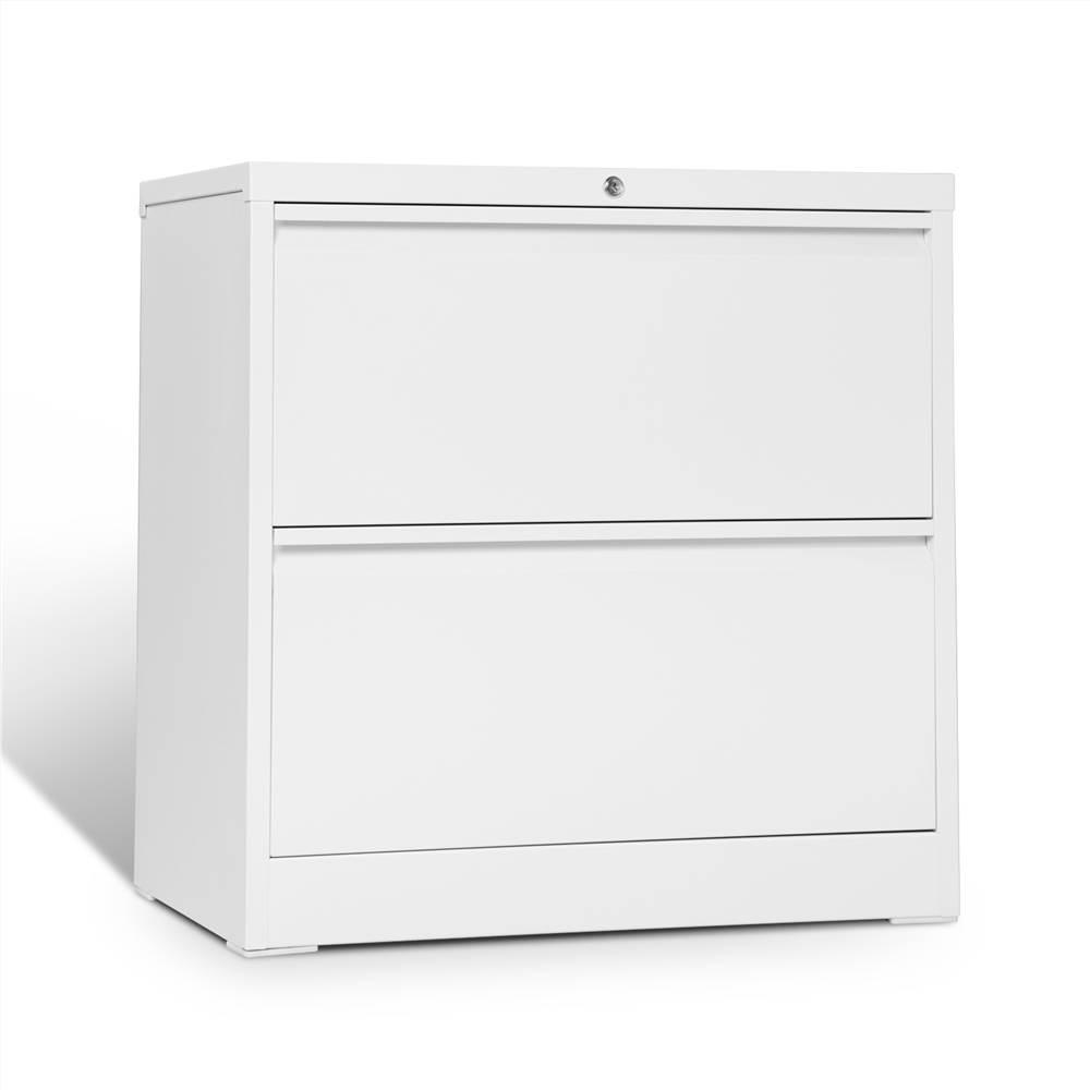 Classeur latéral verrouillable en métal pour bureau à domicile avec 2 tiroirs de rangement, pour documents suspendus au format A4, Lettre et Légal - Blanc
