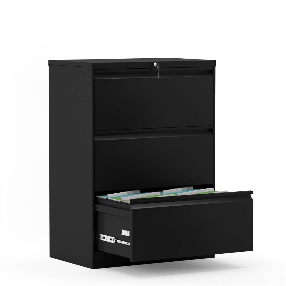 Classeur latéral verrouillable en métal pour bureau à domicile avec 3 tiroirs de rangement, pour documents suspendus au format A4, Lettre et Légal - Noir