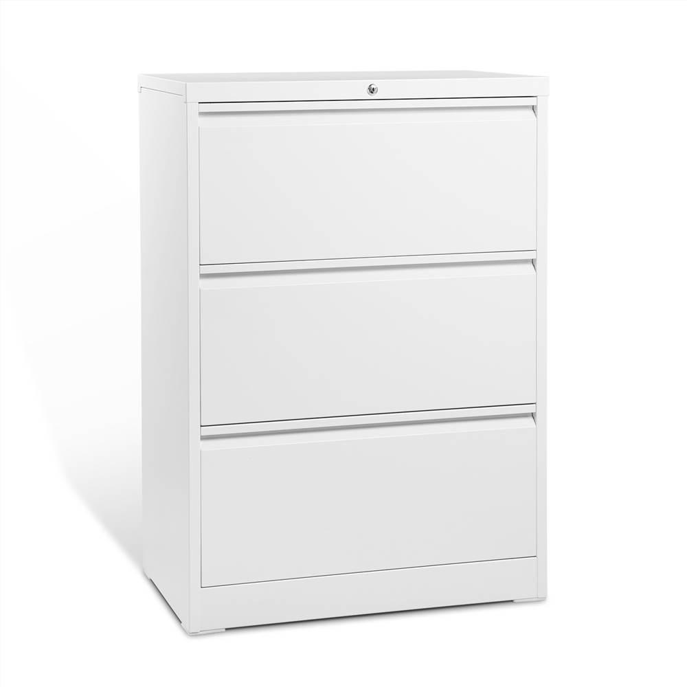 Classeur latéral verrouillable en métal pour bureau à domicile avec 3 tiroirs de rangement, pour documents suspendus au format A4, Lettre et Légal - Blanc