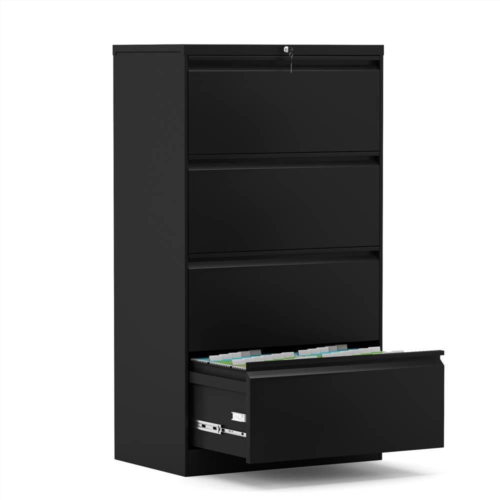 Classeur latéral verrouillable en métal pour bureau à domicile avec 4 tiroirs de rangement, pour documents suspendus au format A4, Lettre et Légal - Noir