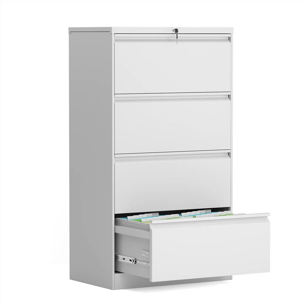 Classeur latéral verrouillable en métal pour bureau à domicile avec 4 tiroirs de rangement, pour documents suspendus au format A4, Lettre et Légal - Blanc