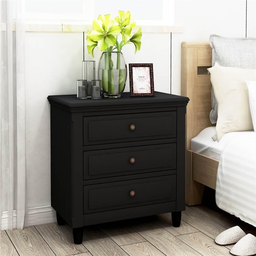 """U-STYLE 28 """"Armoire de rangement en bois avec 3 tiroirs, pour entrée, couloir, chambre à coucher, salle de séjour - Noir"""