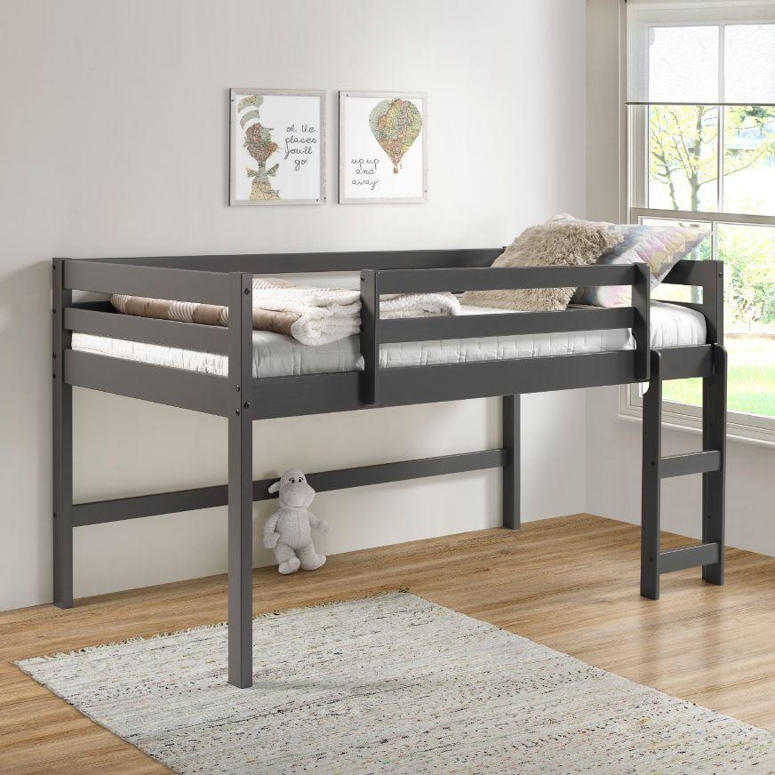 Cadre de lit mezzanine en bois double ACME Lara avec support pour échelle et lattes en bois, conception peu encombrante, pas besoin de boîte à ressort - gris