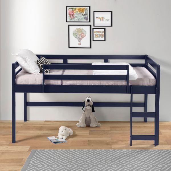 Cadre de lit mezzanine en bois double ACME avec support d'échelle et de lattes en bois, conception peu encombrante, pas besoin de boîte à ressort - bleu marine