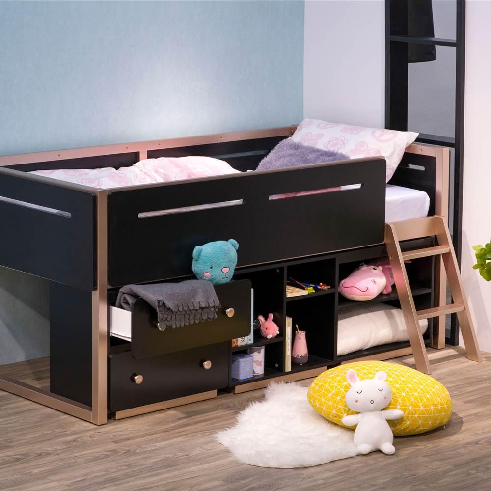 Cadre de lit mezzanine en bois double ACME avec 2 tiroirs et étagères de rangement, conception peu encombrante, pas besoin de boîte à ressort - noir