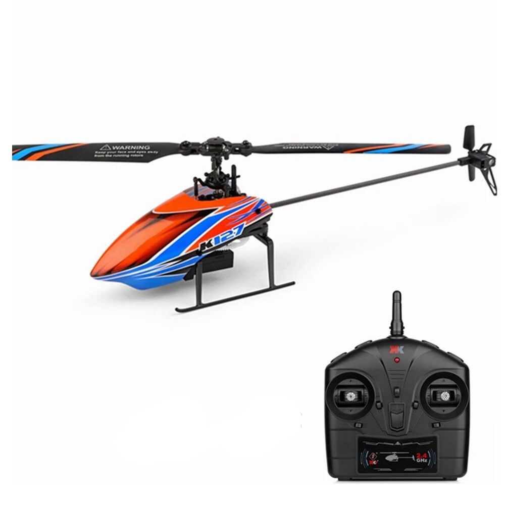 XK K127 4CH 6-Axis Gyro RC Helicopter Altitude Hold Flybarless RTF- One Battery