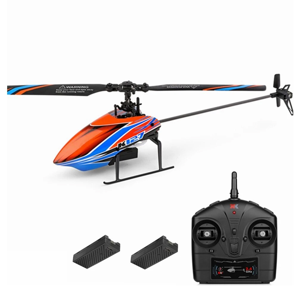 XK K127 4CH 6-Axis Gyro RC Helicopter Altitude Hold Flybarless RTF - dwie baterie