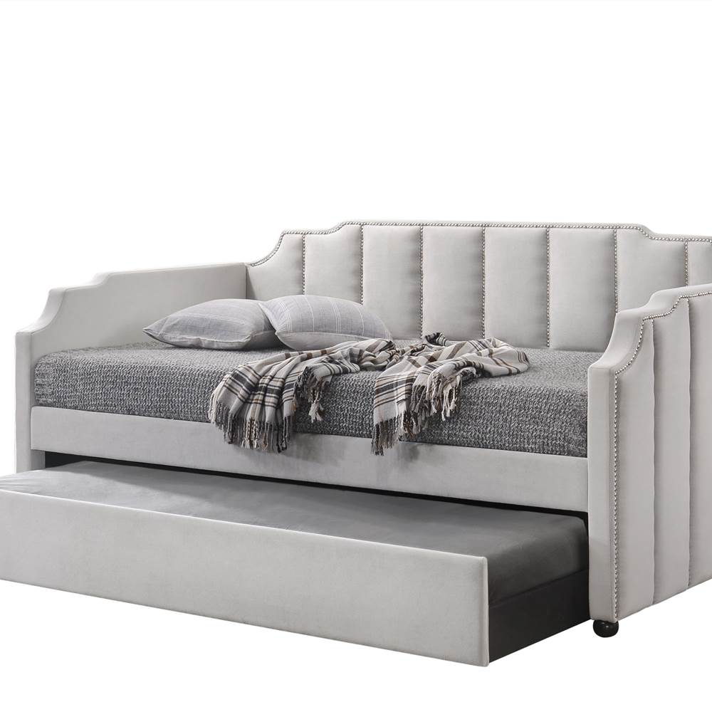 ACME Twin Size Velvet Daybed Frame with Trundle Bed and Wooden Slats Support, No Need for Spring Box, for Living Room, Bedroom, Office, Apartment - Gray