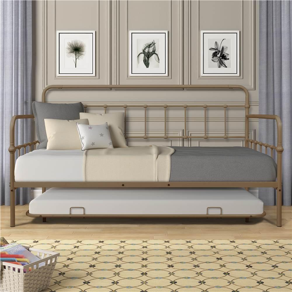 Cadre de lit de repos en métal de taille simple avec lit gigogne et support de lattes en métal, pas besoin de boîte à ressort, pour salon, chambre, bureau, appartement - Laiton