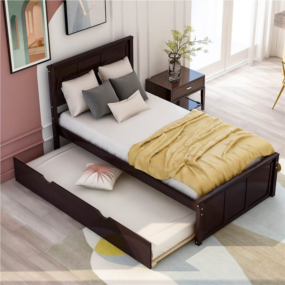 Twin Size Wooden Platform Bed Frame with Trundle Bed, and Wooden Slats Support, No Spring Box Required (Frame Only) - Espresso
