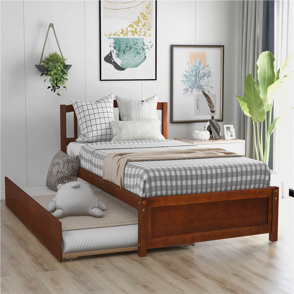 Twin Size Wooden Platform Bed Frame with Trundle Bed, and Wooden Slats Support, No Spring Box Required (Frame Only) - Walnut