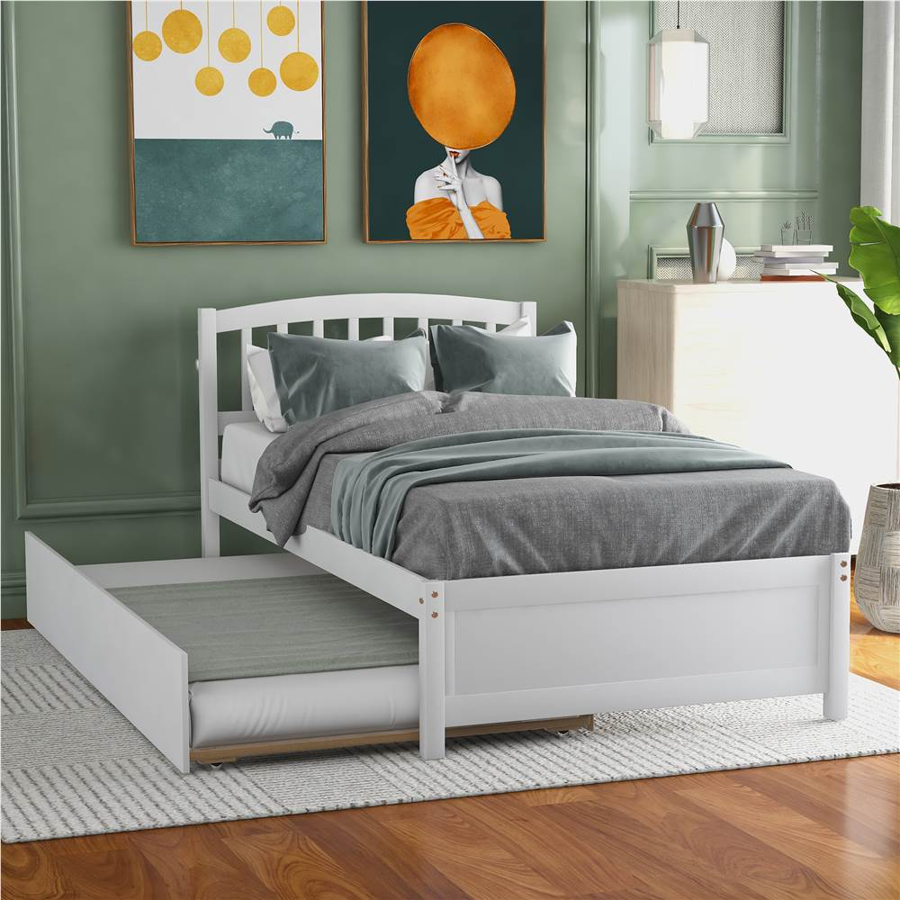 Twin Size Wooden Platform Bed Frame with Trundle Bed, and Wooden Slats Support, No Spring Box Required (Frame Only) - White