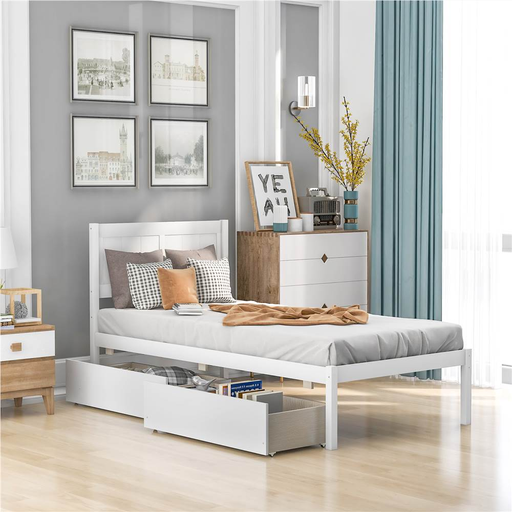 Twin Size Wooden Platform Bed Frame with 2 Storage Drawers, and Wooden Slats Support, No Spring Box Required (Frame Only) - White