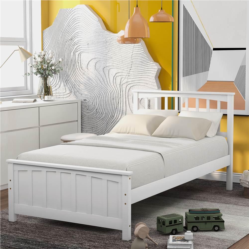Cadre de lit plateforme en bois double avec tête de lit, pied de lit et support de lattes en bois, aucune boîte à ressort requise - Blanc
