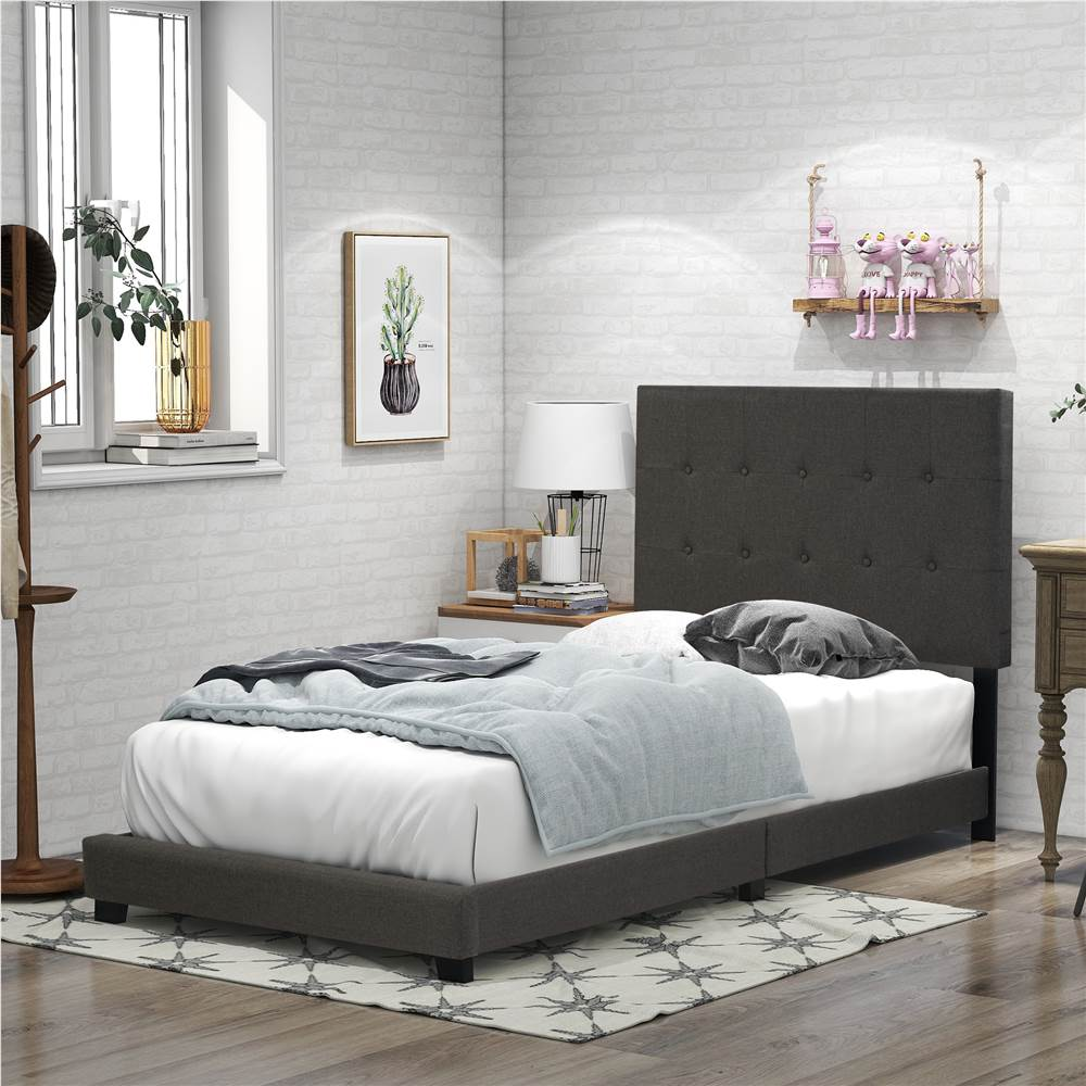 Twin Size Linen Upholstered Platform Bed Frame with Headboard, Footboard, and Wooden Slats Support, Spring Box Required (Frame Only) - Gray, Other  - buy with discount