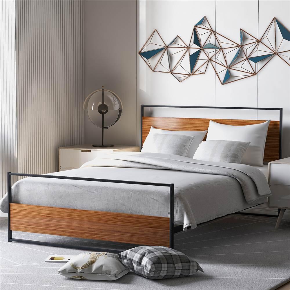 Полноразмерный металлический каркас кровати на платформе с опорой изголовья, изножья и деревянных планок, пружинный ящик не требуется (только каркас) - черный + коричневый