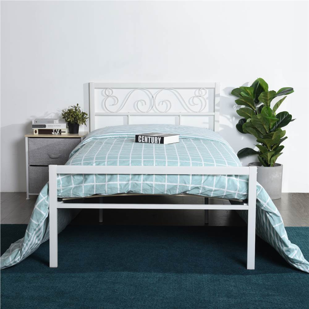 Twin Size Metal Platform Bed Frame with Headboard, Footboard, and Wooden Slats Support, No Spring Box Required (Frame Only) - White, Other  - buy with discount