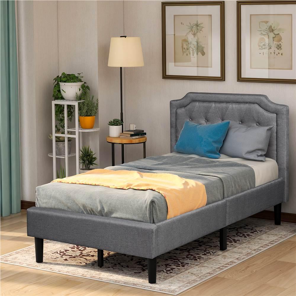 Каркас кровати на платформе с обивкой из льняной ткани двойного размера с изголовьем и опорой из деревянных планок, пружинный ящик не требуется (только рама) - серый