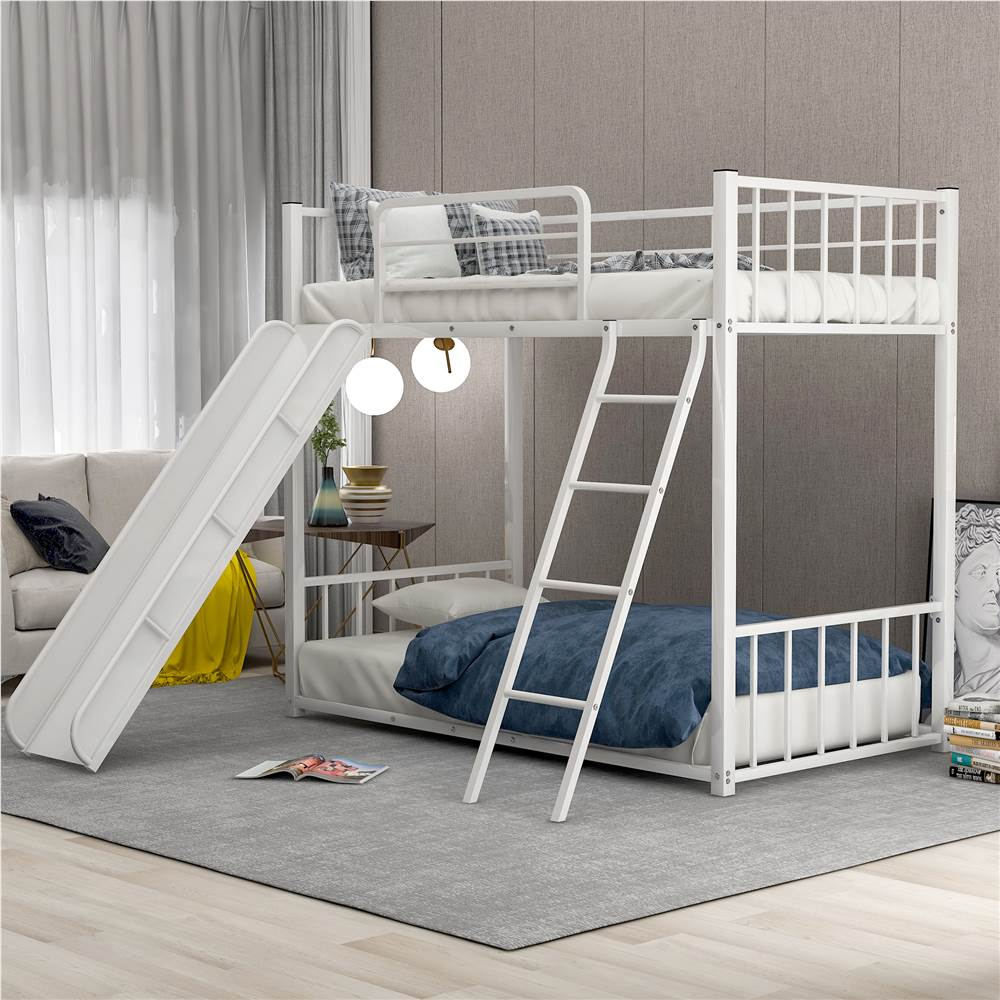Twin-Over-Twin Size Bunk Bed Frame with Slide, and Metal Slats Support, No Spring Box Required (Frame Only) - White