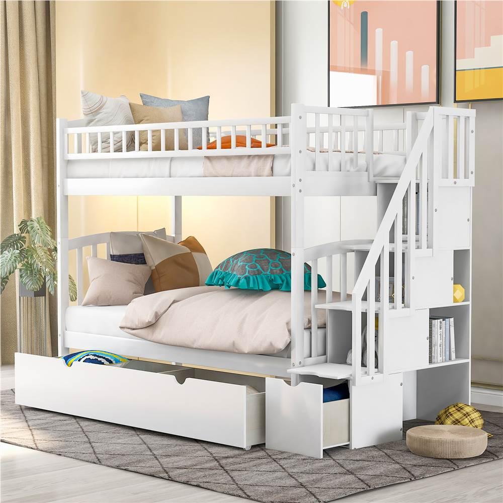 Cadre de lit superposé simple sur simple avec 2 tiroirs de rangement et support de lattes en bois, aucune boîte à ressort requise (cadre uniquement) - Blanc