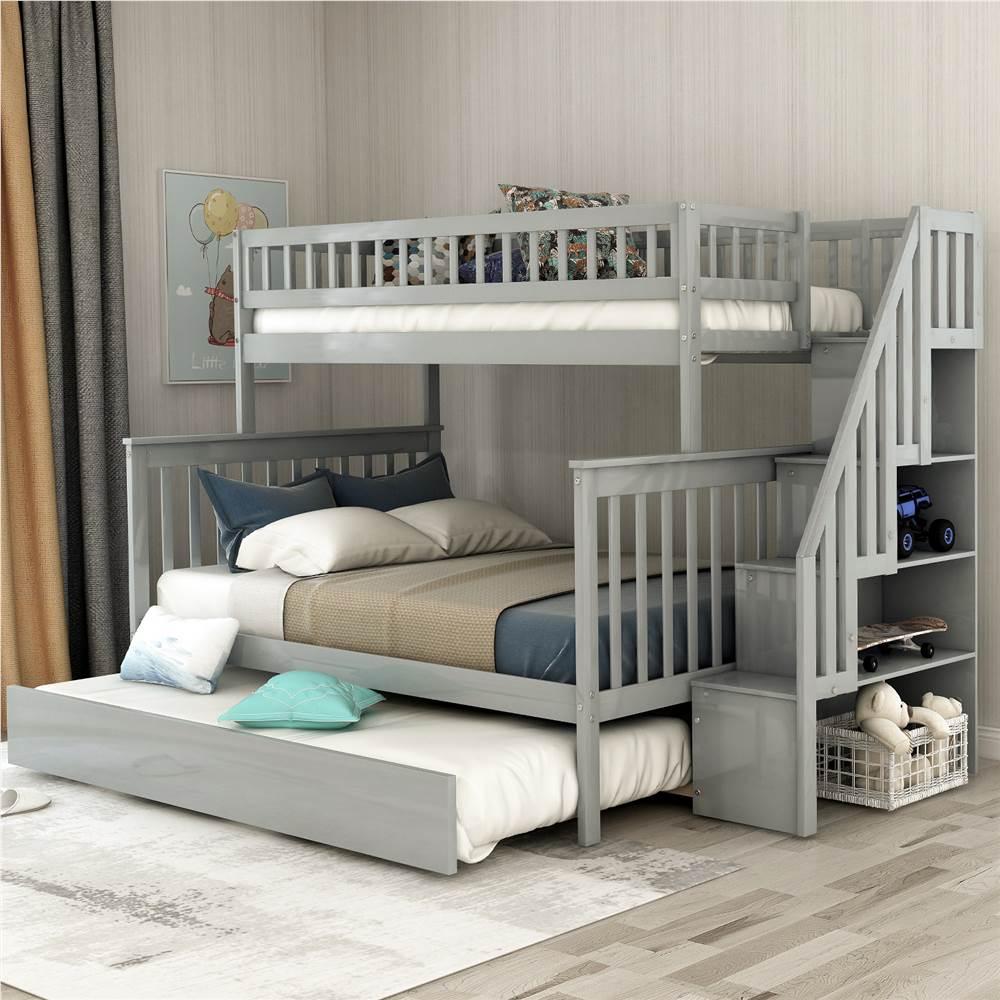 Cadre de lit superposé d'escalier double sur pleine grandeur avec lit gigogne et support de lattes en bois, aucune boîte à ressort requise (cadre uniquement) - Gris