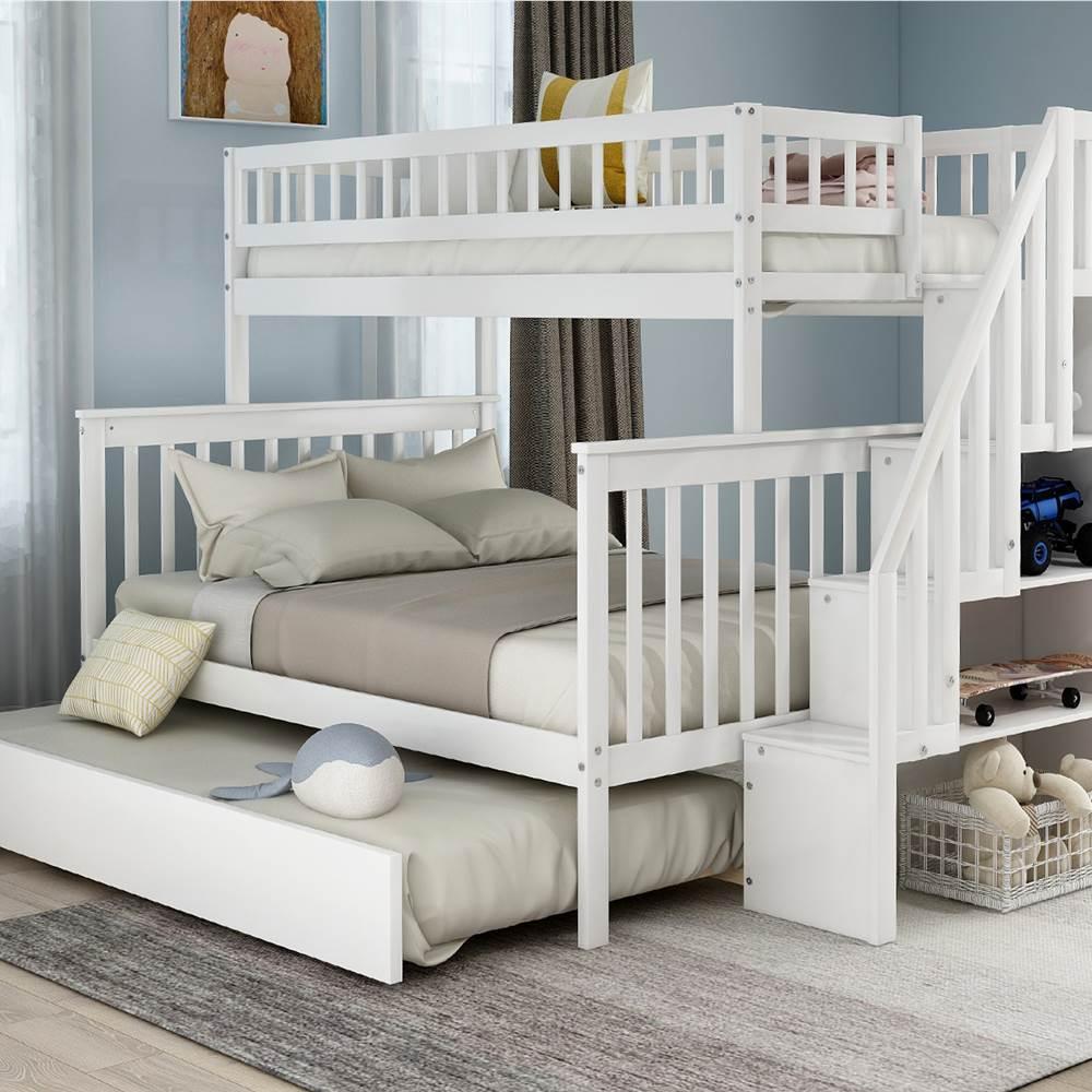Cadre de lit superposé d'escalier double sur pleine grandeur avec lit gigogne et support de lattes en bois, aucune boîte à ressort requise (cadre uniquement) - Blanc