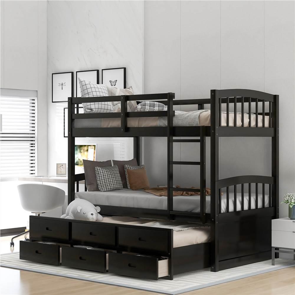Cadre de lit superposé 3 place sur XNUMX place avec lit gigogne et XNUMX tiroirs de rangement, aucune boîte à ressort requise (cadre seulement) - Espresso