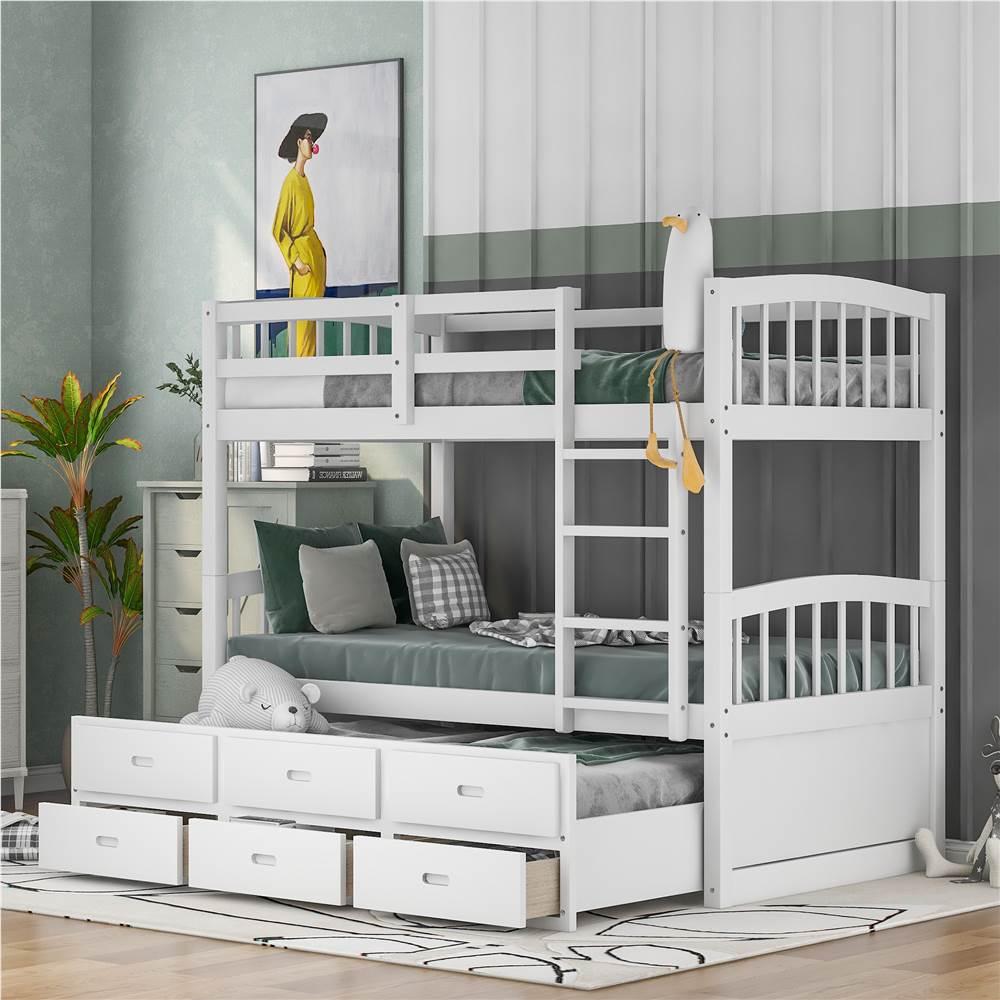 Cadre de lit superposé 3 place sur XNUMX place avec lit gigogne et XNUMX tiroirs de rangement, aucune boîte à ressort requise (cadre uniquement) - Blanc