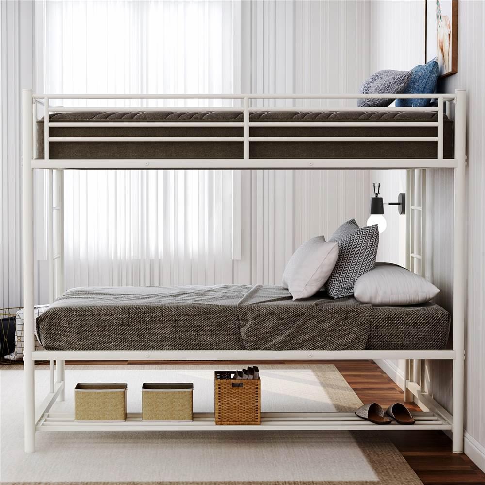 Cadre de lit superposé simple sur simple avec tablette de rangement et support de lattes en métal, aucune boîte à ressort requise (cadre uniquement) - Blanc