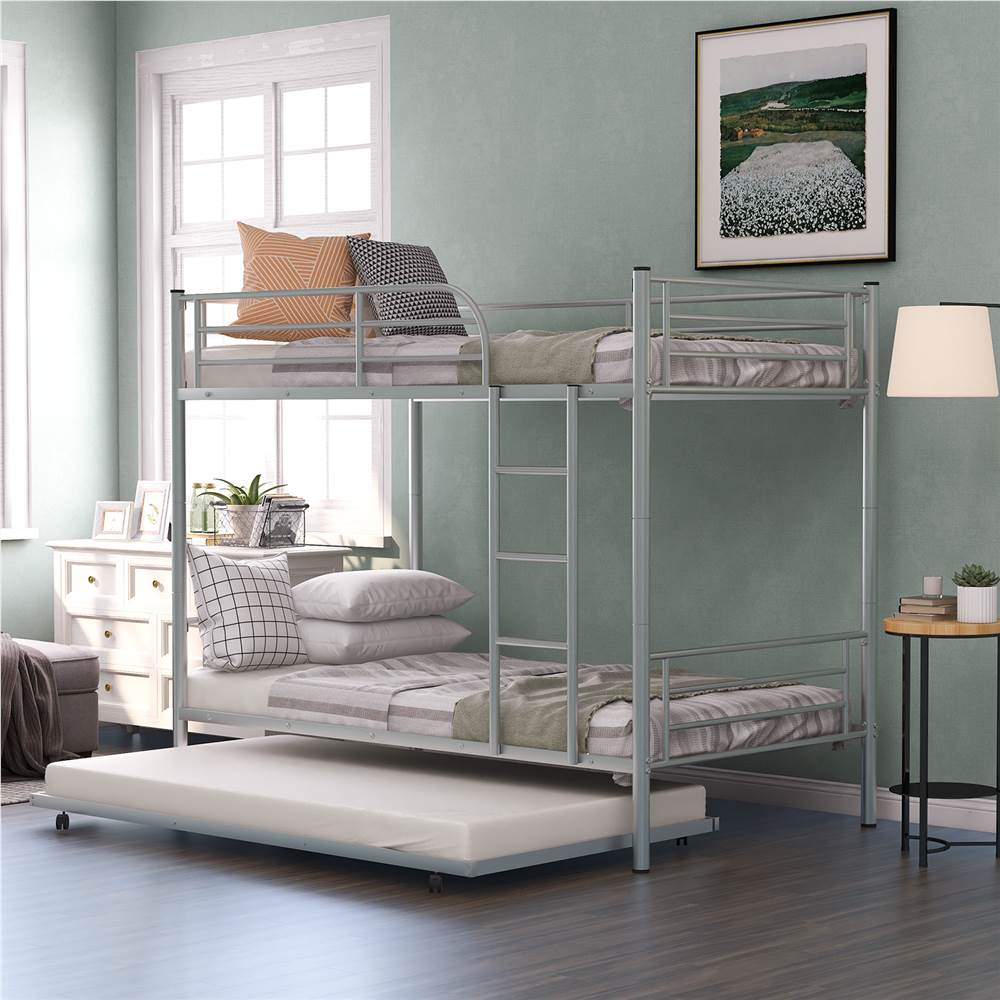 Twin-Over-Twin Size Bunk Bed Frame with Trundle Bed, and Metal Slats Support, No Spring Box Required (Frame Only) - Silver