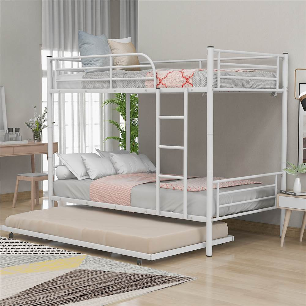 Twin-Over-Twin Size Bunk Bed Frame with Trundle Bed, and Metal Slats Support, No Spring Box Required (Frame Only) - White