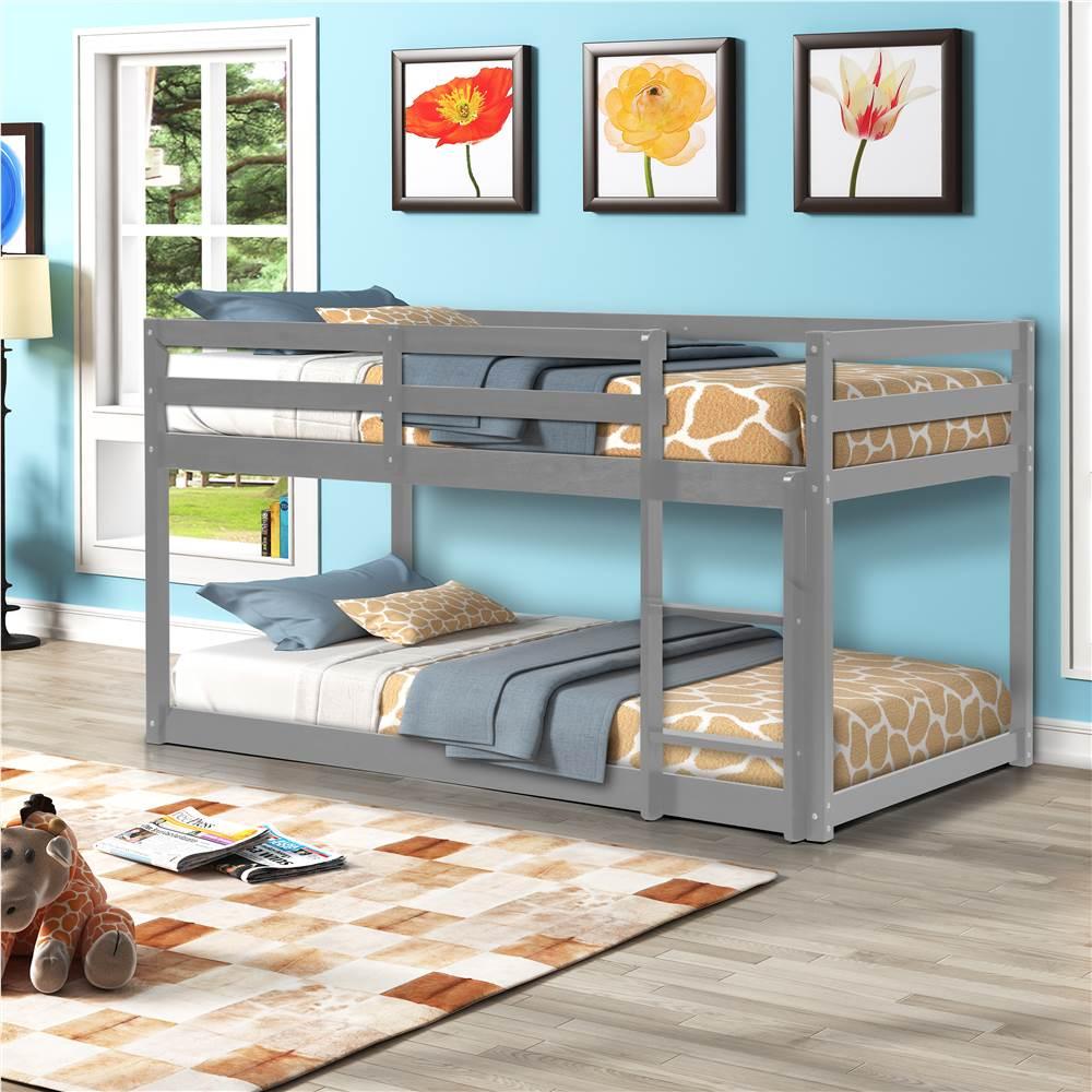 Πλαίσιο με κουκέτα Twin-Over-Twin Size με Σκάλα και Υποστήριξη από Ξύλινα Πλάκα, Δεν απαιτείται Κουτί Ελατηρίου (Μόνο Πλαίσιο) - Γκρι