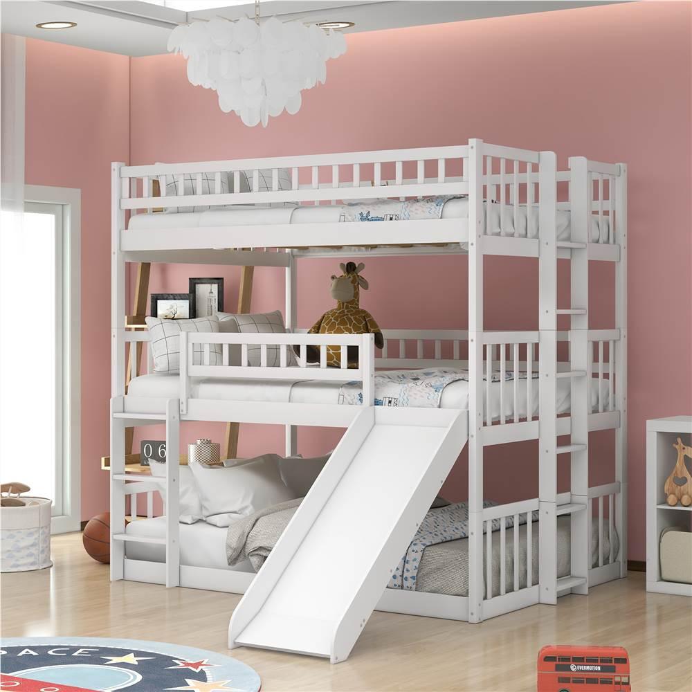 Cadre de lit triple de taille Full-Over-Full-Over-Ful avec glissière et support de lattes en bois, aucune boîte à ressort requise (cadre uniquement) - Blanc