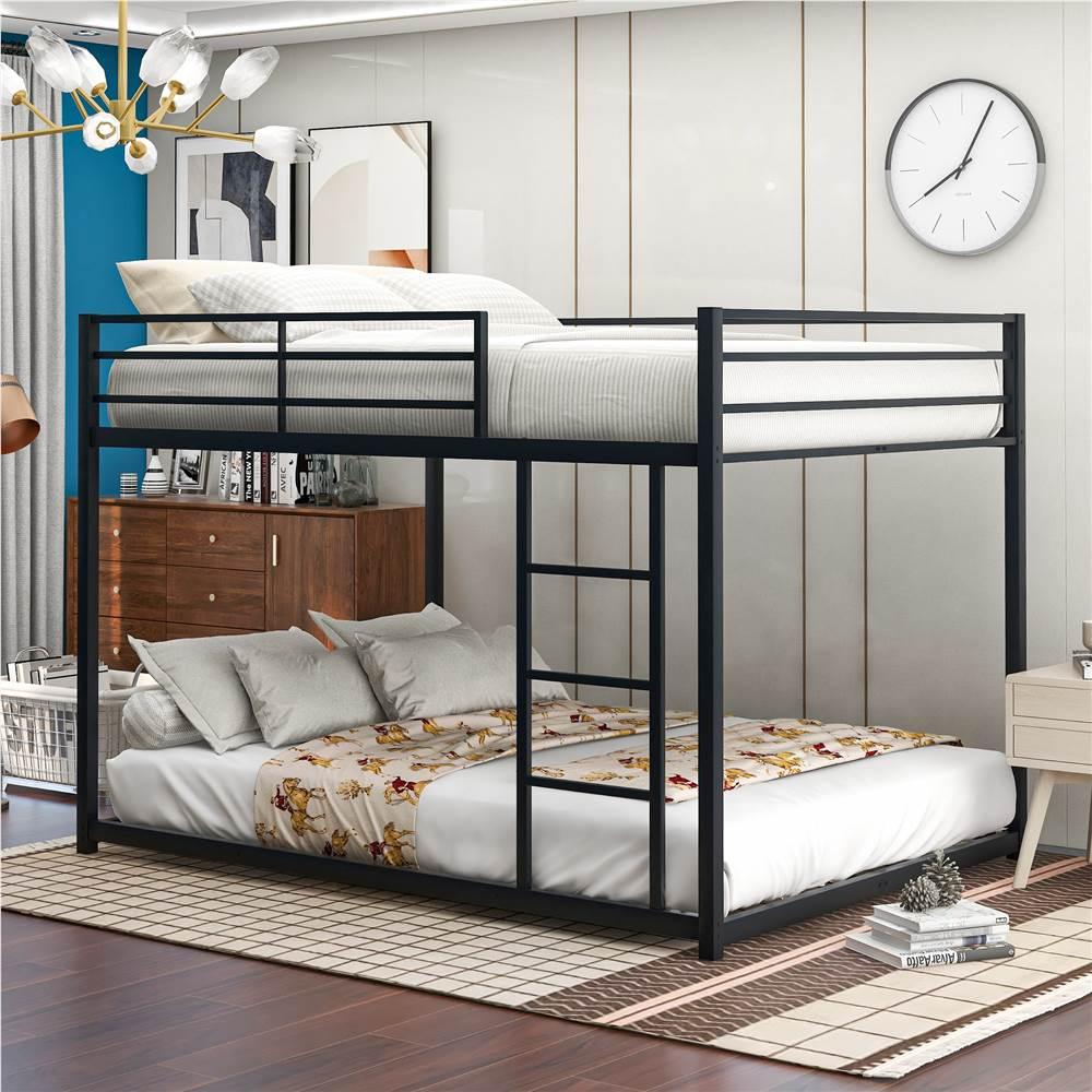 Cadre de lit superposé pleine grandeur avec échelle et support de lattes en métal, aucune boîte à ressort requise (cadre seulement) - Noir