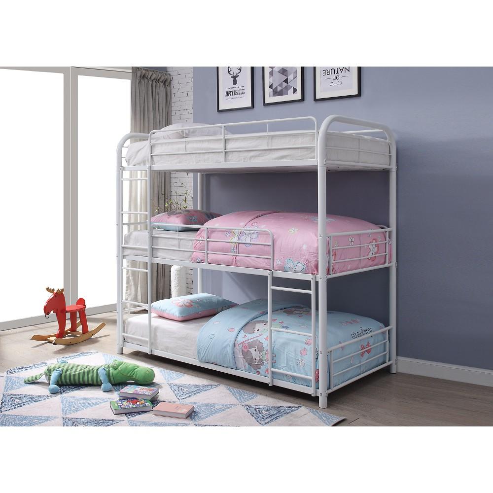 Cadre de lit triple pleine grandeur ACME avec échelle et support de lattes métalliques, aucune boîte à ressort requise (cadre uniquement) - Blanc
