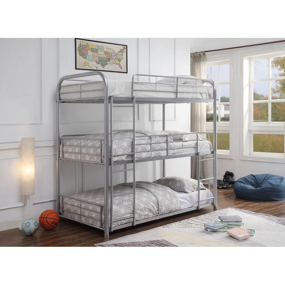 Cadre de lit triple ACME double avec échelle et support de lattes métalliques, aucune boîte à ressort requise (cadre uniquement) - Argent