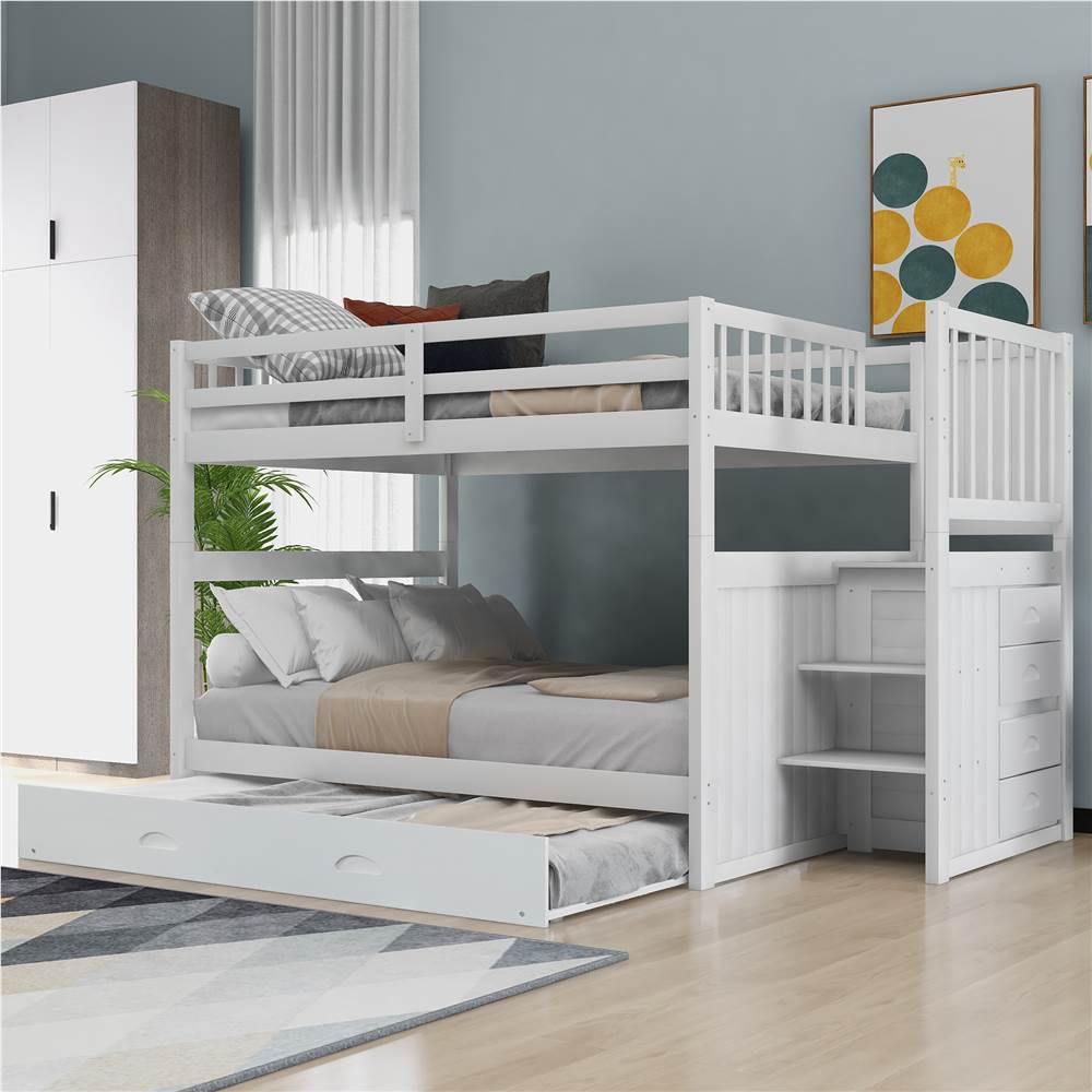 Full-Over-Full Size Bunk Bed Frame with Trundle Bed, Storage Stairs, and Wooden Slats Support, No Spring Box Required (Frame Only) - White