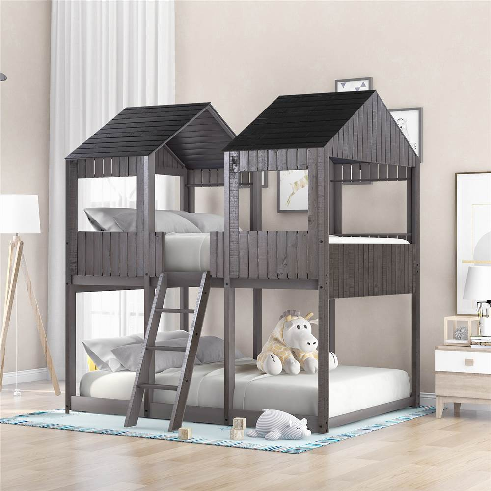 Full-Over-Full Size Bunk Bed Frame with Roof, and Wooden Slats Support, No Spring Box Required (Frame Only) - Antique Gray
