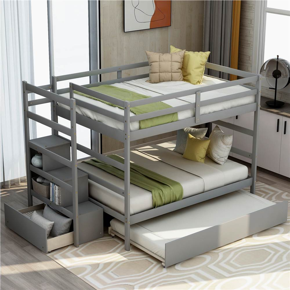 Full-Over-Full Size Wooden Bunk Bed Frame with Trundle Bed, and Storage Stairs, No Spring Box Required (Frame Only) - Gray