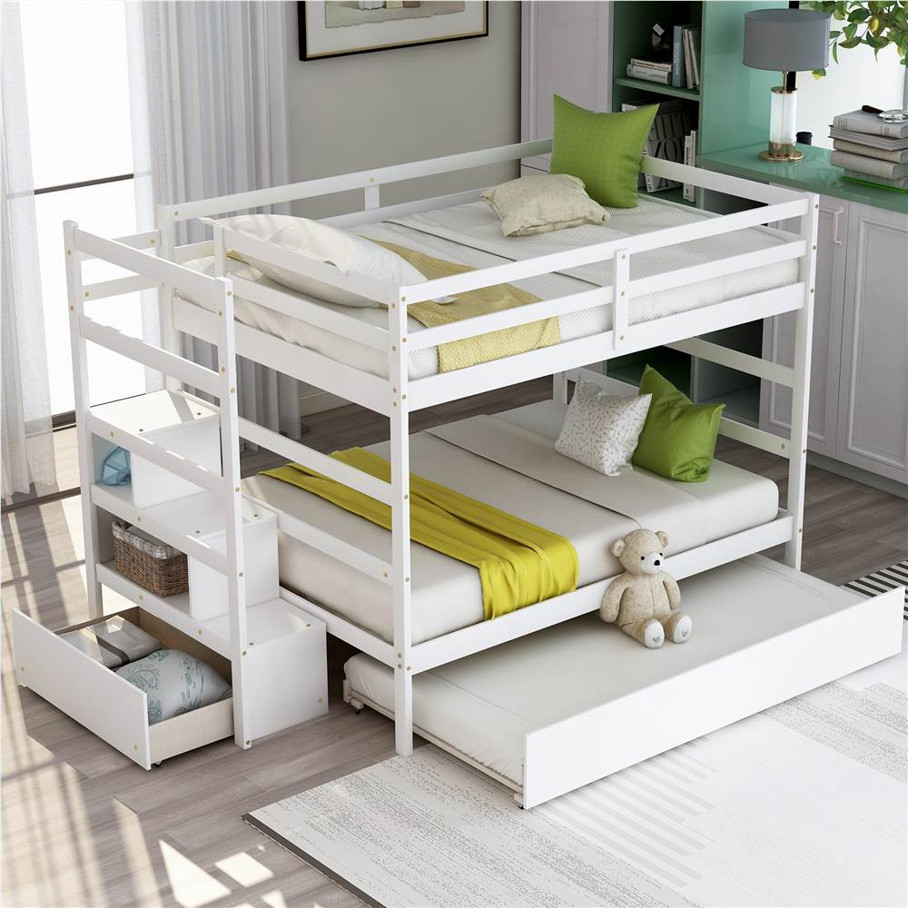 Full-Over-Full Size Wooden Bunk Bed Frame with Trundle Bed, and Storage Stairs, No Spring Box Required (Frame Only) - White