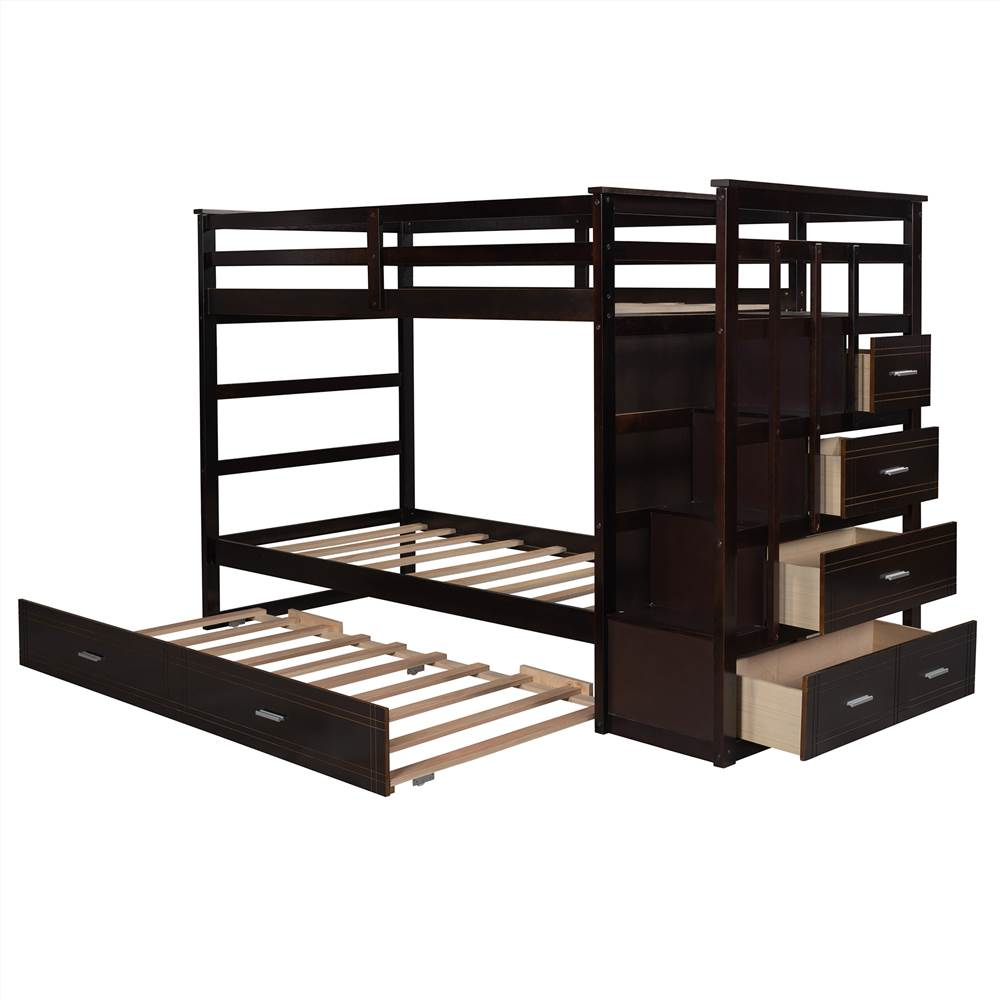Twin-Over-Twin Size Bunk Bed Frame with Trundle Bed, 4 Storage Drawers, and Wooden Slats Support, No Spring Box Required (Frame Only) - Espresso